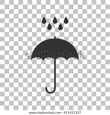 Umbrella with water drops. Rain protection symbol. Flat design style. Dark gray icon on transparent background. - stock photo