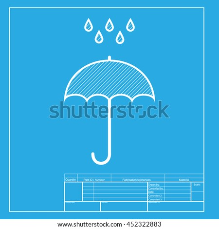 Umbrella with water drops. Rain protection symbol. Flat design style. White section of icon on blueprint template. - stock photo