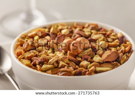 Umm Ali:Umm Ali, also called Om Ali, is an Egyptian version of bread pudding with pistachios and nuts  Location : At Rawan Cake in Amman ,Jordan - stock photo