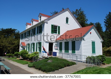Umpquah River Lighthouse Keepers Facilities, Winchester Bay, Oregon - stock photo