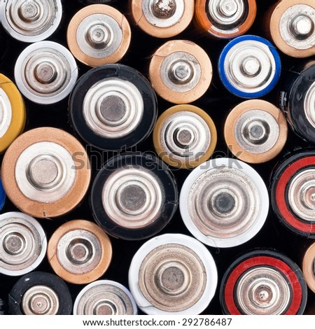Un eco-friendly alkaline batteries closeup square crop. - stock photo