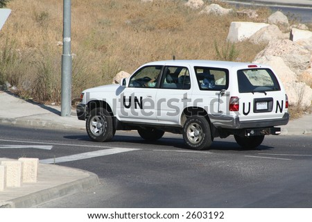 UN Jeep driving in the Middle East - stock photo