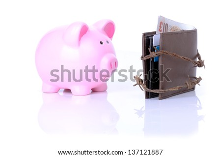 unable to access money or no savings - stock photo