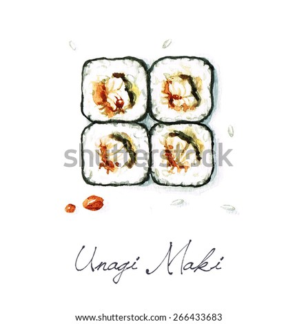 Unagi Maki - Watercolor Food Collection - stock photo