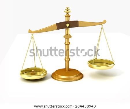 Unbalanced scale on white background  - stock photo