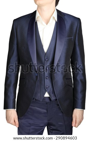 Unbuttoned night blue men wedding dress with a vest and a white shirt no tie, isolated on a white background. - stock photo