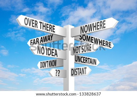 Uncertain direction sign post on blue sky background - stock photo