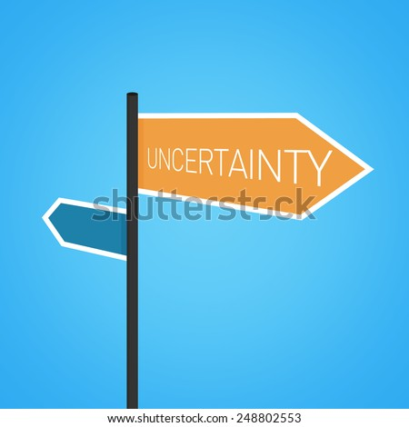 Uncertainty nearby, orange road sign concept on blue background - stock photo