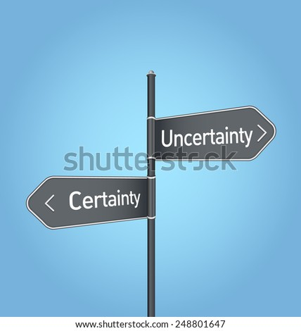 Uncertainty vs certainty choice concept road sign on blue background - stock photo