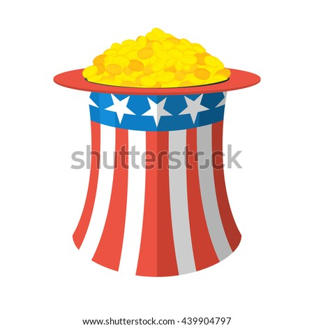 Uncle Sam hat and gold. Cylinder and gold coins on white background. National Patriotic  American cap and money. header for independence day  - stock photo