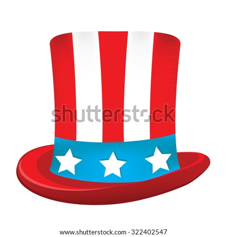 Uncle sam hat raster icon isolated on white, american hat, independence day - stock photo