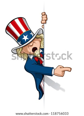 Uncle Sam Pointing at a Banner - stock photo