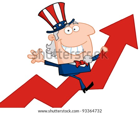 Uncle Sam Riding Up On A Statistics Arrow - stock photo