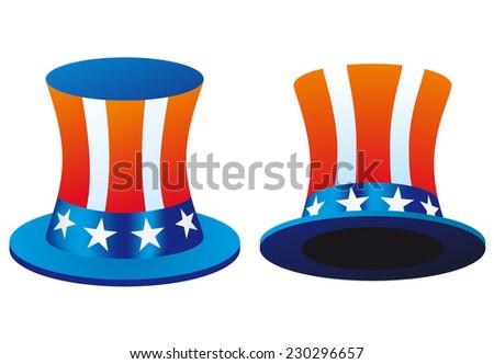 Uncle Sam's hat. Symbol of freedom and liberty. Illustration Isolated on white background - stock photo