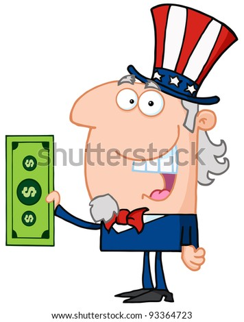 Uncle Sam With Holding A Dollar Bill - stock photo