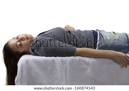 unconscious woman waking up. isolated for composites. - stock photo