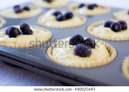 uncooked blueberry muffins close up  - stock photo