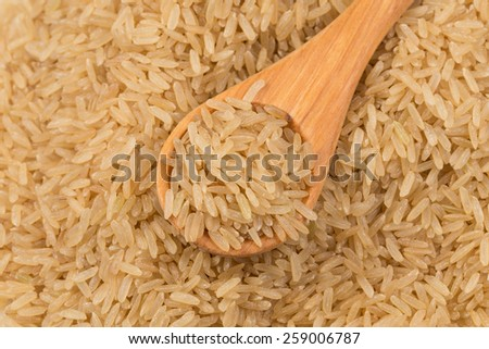 Uncooked Brown rice background close up image with wooden spoon - stock photo