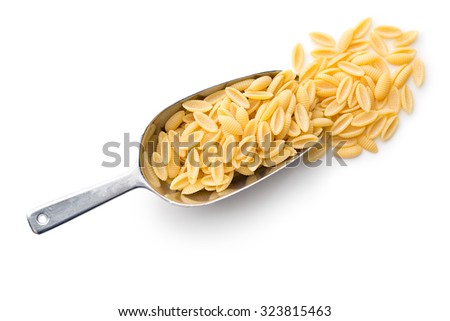 uncooked italian pasta in scoop on white background - stock photo