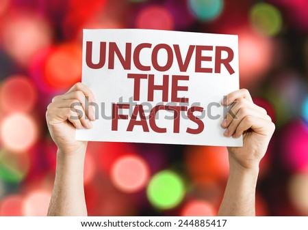 Uncover the Facts card with colorful background with defocused lights - stock photo