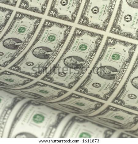 Uncut sheet of two dollar bills. - stock photo