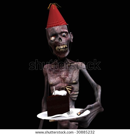 Undead Zombie offering you a piece of Birthday Cake. Isolated on a black background. - stock photo