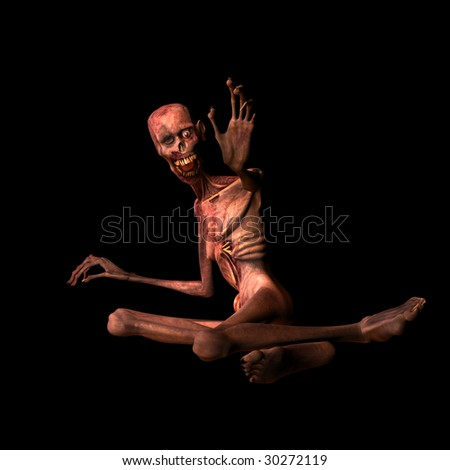 Undead Zombie reaching for you. Isolated on a black background. - stock photo