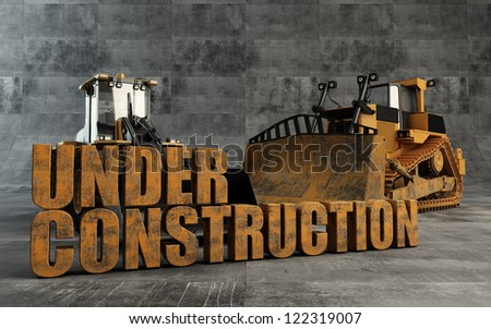 Under Construction background with bulldozer and loader - stock photo