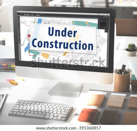 Under Construction Building Warning Attention Concept - stock photo