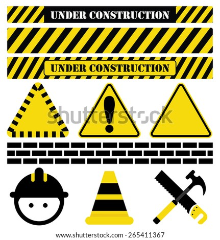 Under Construction-Collection of Construction imagery, including UNDER CONSTRUCTION text as well as common tools and symbols used in relation to construction - stock photo