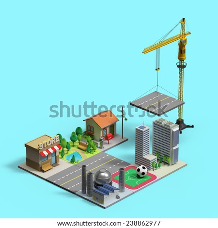 under construction 3d town - stock photo