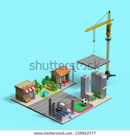 under construction 3d town - stock photo