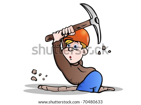 under construction digger worker  over white background - stock photo