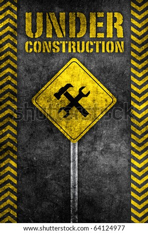 under construction pole wrench and hammer sign in dark style - stock photo