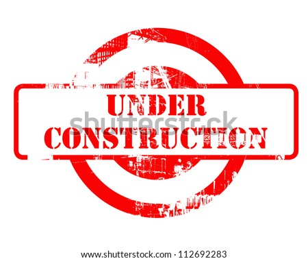 Under construction red stamp with copy space isolated on white background. - stock photo