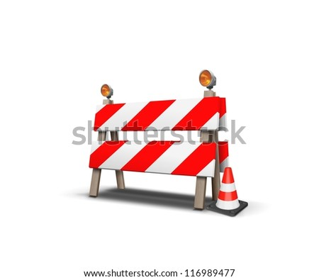 Under construction-Road barrier with cone - stock photo
