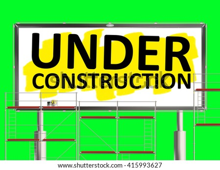 Under construction. Road sign on the green background. Raster illustration. - stock photo
