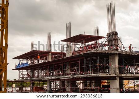under construction site work background - stock photo