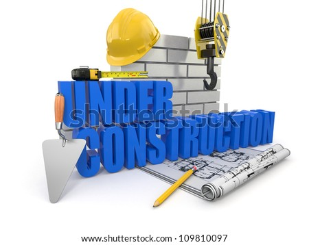 Under construction. Tools, hardhat and wall. 3d - stock photo