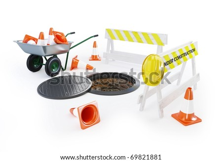 under construction traffic cones on a white background - stock photo