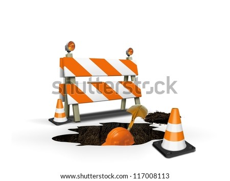 Under construction- worker digging a hole - stock photo