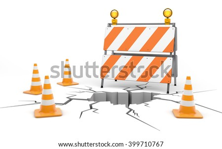 Under cunstruction. Roadblock and cones isolated on white with clipping path. 3d rendering - stock photo