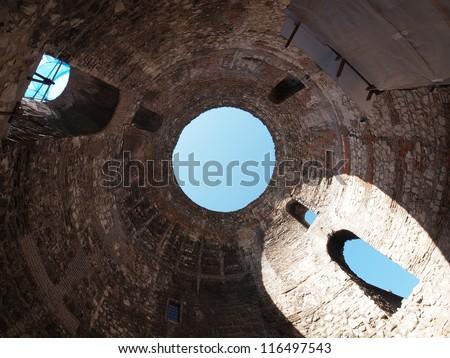 Under Diocletian Mausoleum Dome in Split, Croatia - stock photo