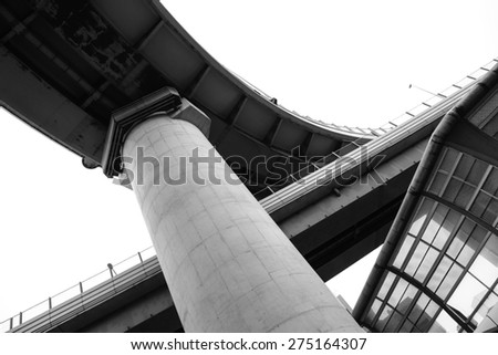 Under expressway from low angle view - stock photo