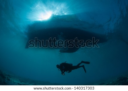 under the boat - stock photo