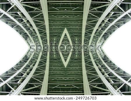 under the bridge - bridge structure - digitally altered - stock photo