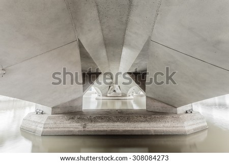Under the bridge with a beautiful shape. - stock photo