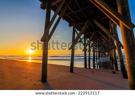 Under the Dock of the Bay (Topsail Island, NC) - stock photo