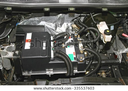 Under the Hood of Electric Car Electronics - stock photo