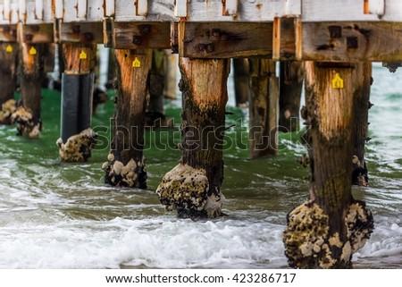 Under the Kerferd Road Pier in Albert Park, Melbourne, Australia - stock photo